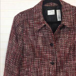Emma James Red Gray Tweed Blazer size 12